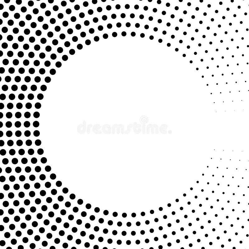 Abstrakta pierścionek czarne kropki Halftone skutek z gradientem Nowożytnego projekta wektoru tło ilustracja wektor