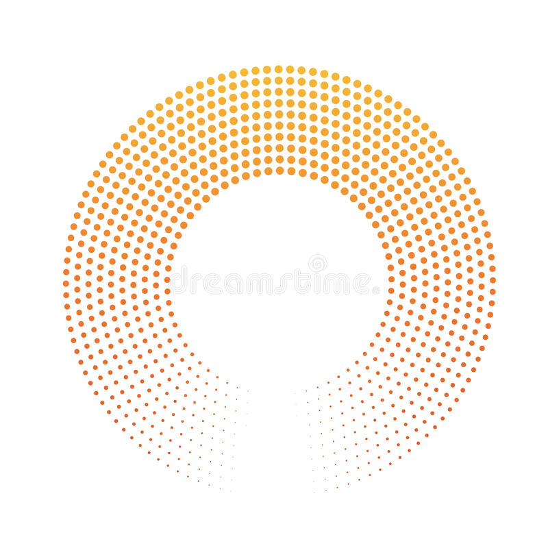 Abstrakta pierścionek kropki Halftone skutek z pomarańczowożółtym zmierzchu koloru gradientem Nowożytnego projekta wektoru tło royalty ilustracja