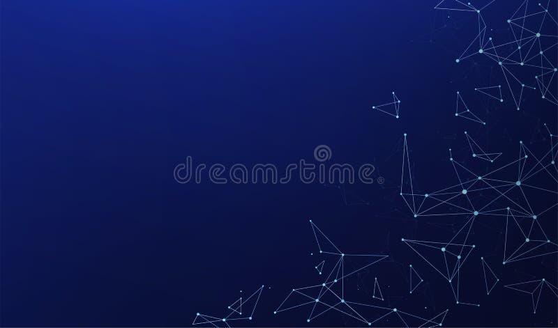 Abstrakta polygonal anslutningar med förbindande prickar och linjer på en blå bakgrund stock illustrationer