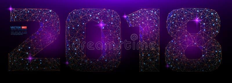 Abstrakta polygonal nummer för det nya året 2018 med textur av stjärnklar himmel eller utrymmeuniversum royaltyfri illustrationer
