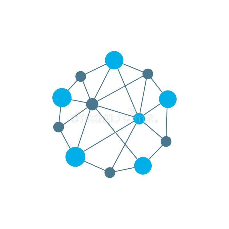 Abstrakta prickar och cirklar förbindelse med linjer Begrepp av operationen av datornätarbete Bakgrund nervcellerna av stock illustrationer