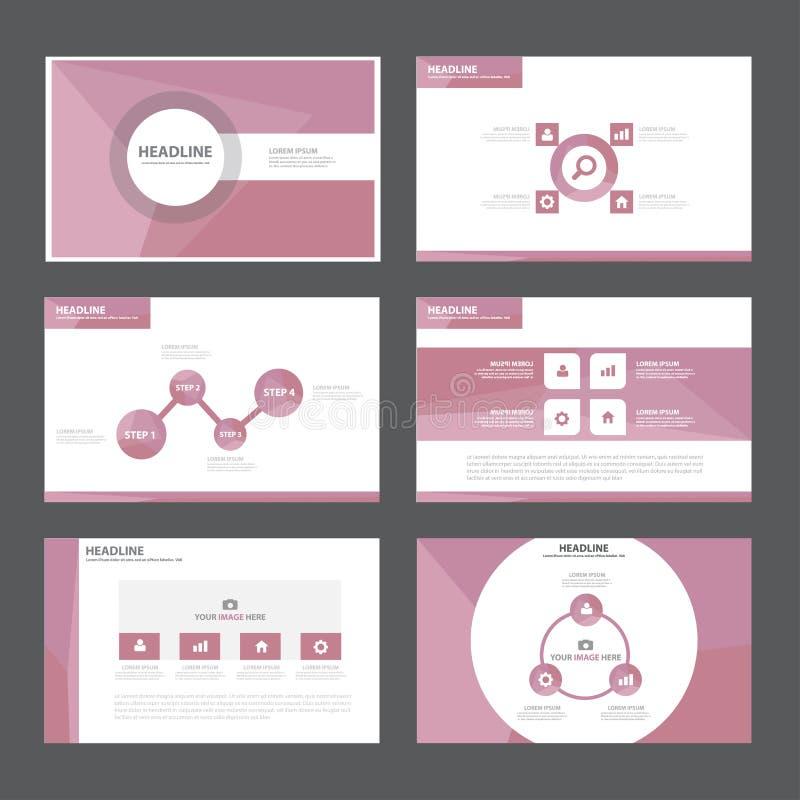 Abstrakta purpurfärgade presentationsmallInfographic beståndsdelar sänker designuppsättningen för marknadsföring för broschyrrekl vektor illustrationer