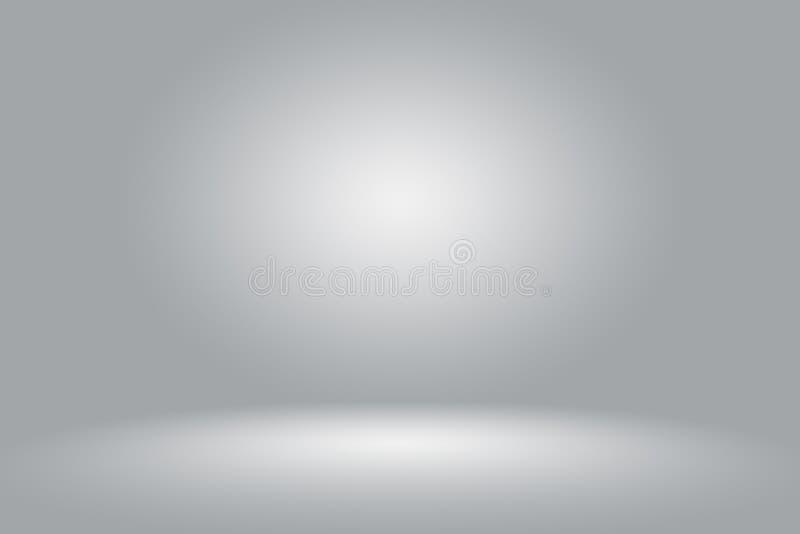 Abstrakta Pustego Ciemnego bielu Popielaty gradient z Czarnej stałej winiety studia oświetleniowym ściennym i podłogowym tła well royalty ilustracja