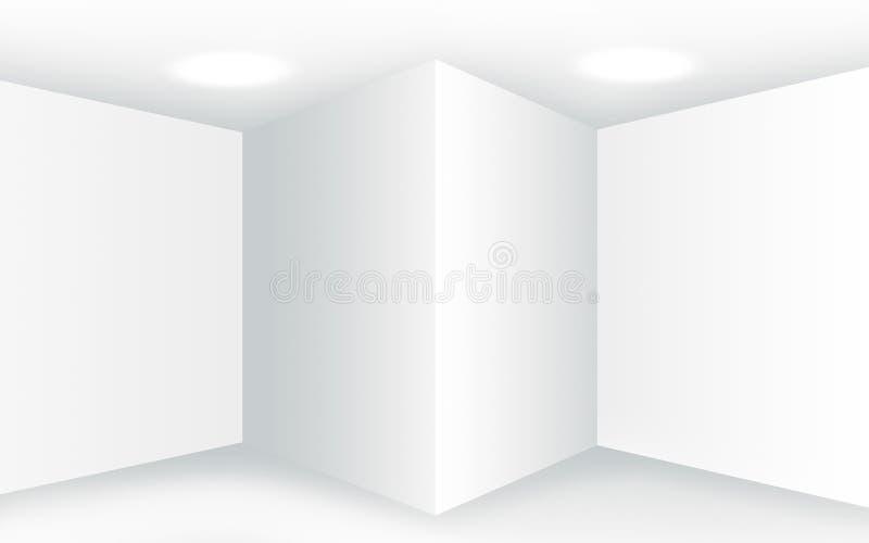 Abstrakta pusty biały wnętrze z kątami i pustymi ścianami zdjęcie royalty free