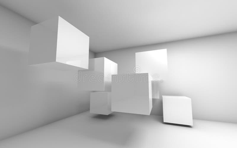 Abstrakta pusty 3d wnętrze z białymi sześcianami royalty ilustracja