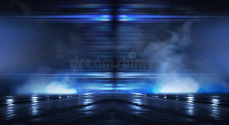 Abstrakta pusty tunel, korytarz, iluminujący neonowym światłem, dym ilustracji