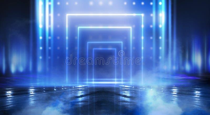 Abstrakta pusty tunel, korytarz, iluminujący neonowym światłem, dym royalty ilustracja