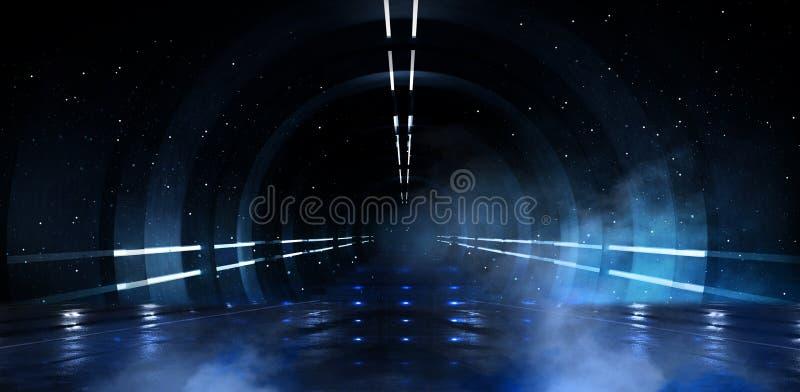 Abstrakta pusty tunel, korytarz, iluminujący neonowym światłem, dym ilustracja wektor