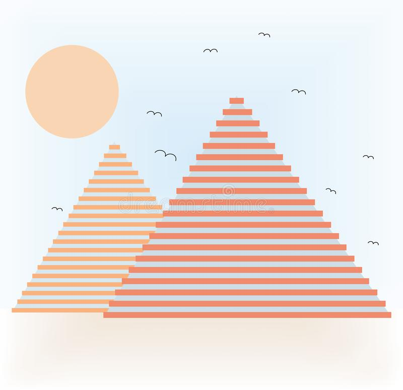 Abstrakta pyramider i öken stock illustrationer