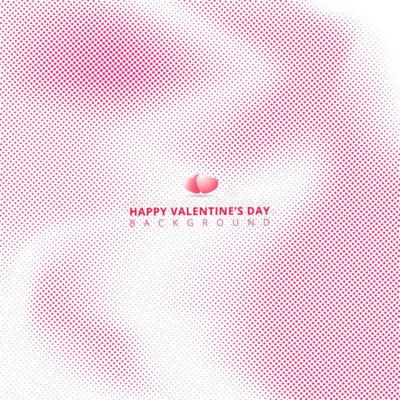 Abstrakta różowy halftone na białym tle z sercami dla valen royalty ilustracja