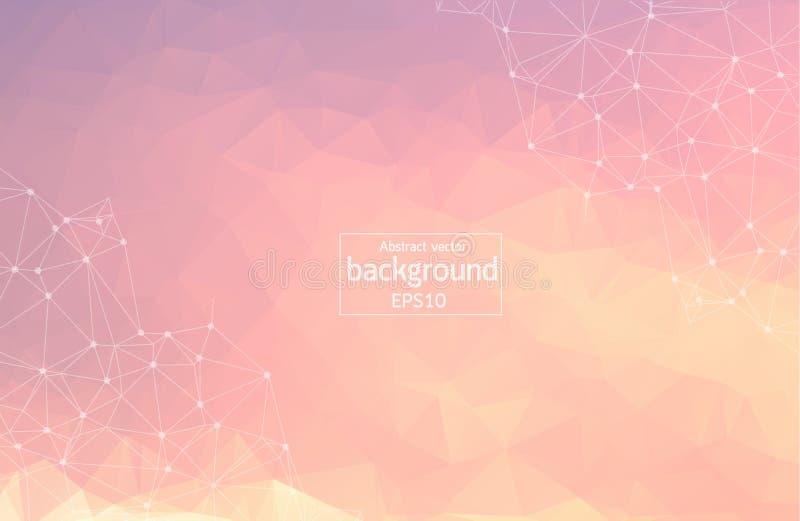 Abstrakta Różowy Poligonalny Astronautyczny tło z Łączyć kropki i linie Geometryczna Poligonalna tło molekuła, komunikacja i ilustracji