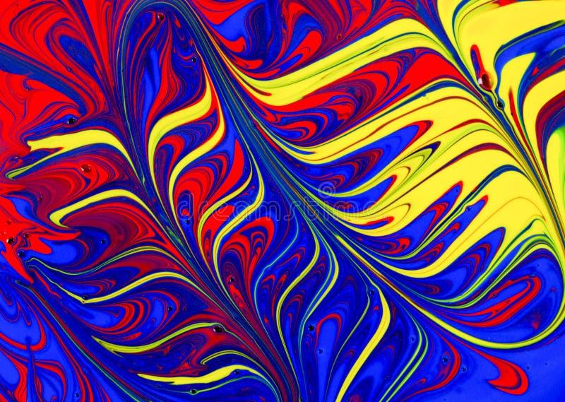 Abstrakta röda, gula och blåa målarfärgvirvlar royaltyfri illustrationer