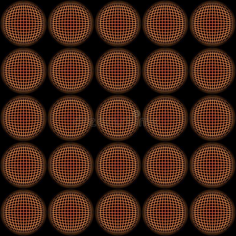 Abstrakta r?da och orange cirkelrastermodeller med effekt f?r illusion 3d stock illustrationer