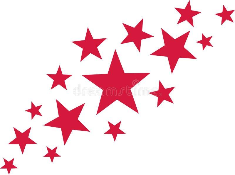 Abstrakta röda stjärnor vektor illustrationer