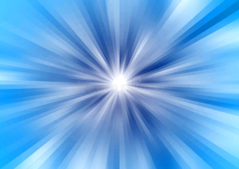 Abstrakta radiella ljusa strålar eller ljus hastighet i blå bakgrund stock illustrationer