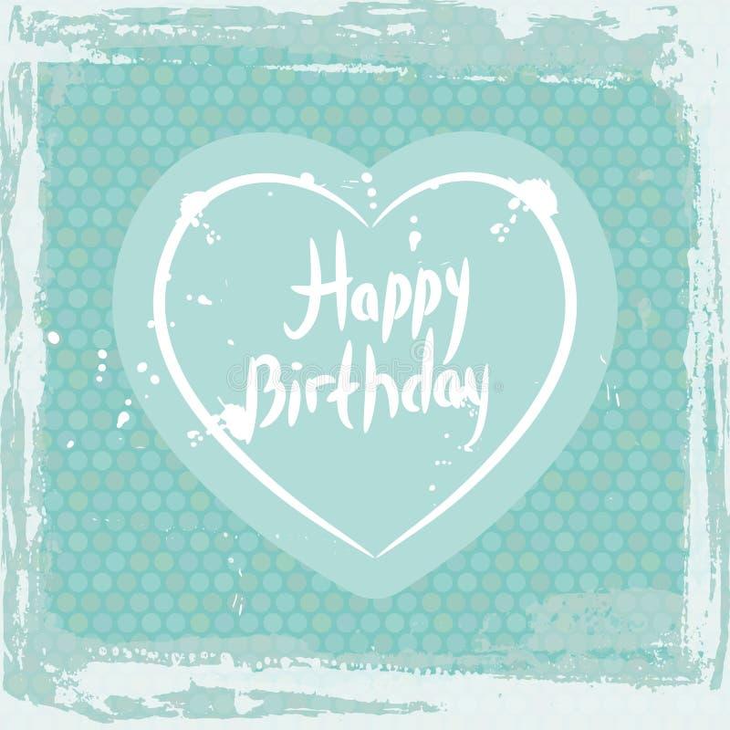 abstrakta ramowy crunch wszystkiego najlepszego z okazji urodzin, serce na błękitnym tło szablonie wektor ilustracja wektor