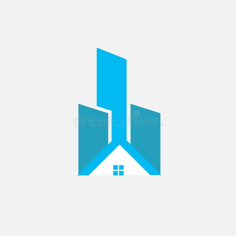 Abstrakta Real Estate Logo Design Huslogo f?r ditt f?retag royaltyfri illustrationer