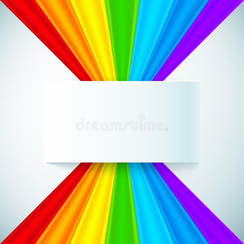 Abstrakta regnbågeband med den pappers- etiketten stock illustrationer