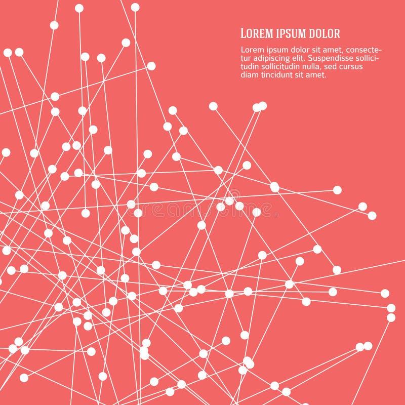Abstrakta rosa bakgrundslinjer och prickar sänker stock illustrationer