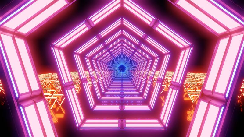 Abstrakta rosa och orange ljus och former royaltyfri bild