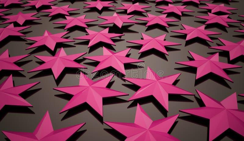 Abstrakta rosa stjärnor stock illustrationer