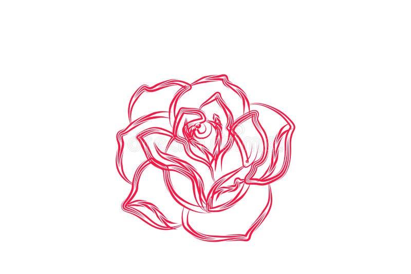 Abstrakta Rose Flower Logo Designs Inspiration som isoleras på vit bakgrund royaltyfri illustrationer