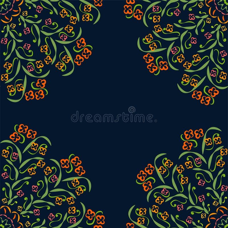 Abstrakta runda modeller gräsplan, rött som är purpurfärgad, guling på mörk bakgrund royaltyfri illustrationer