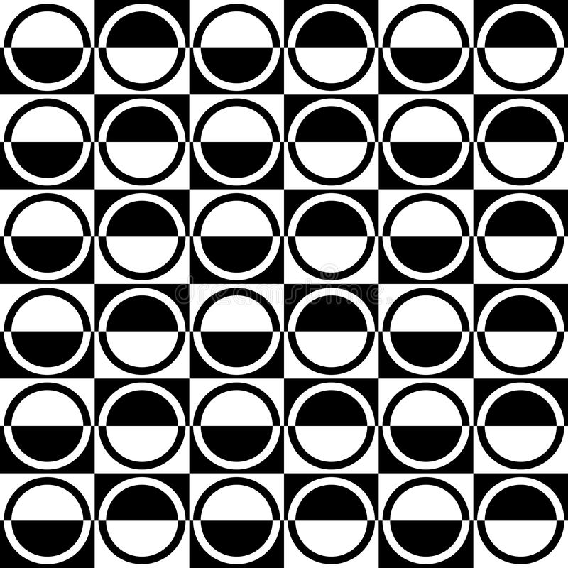 Abstrakta sömlösa svartvita Art Deco Vector Pattern royaltyfri illustrationer