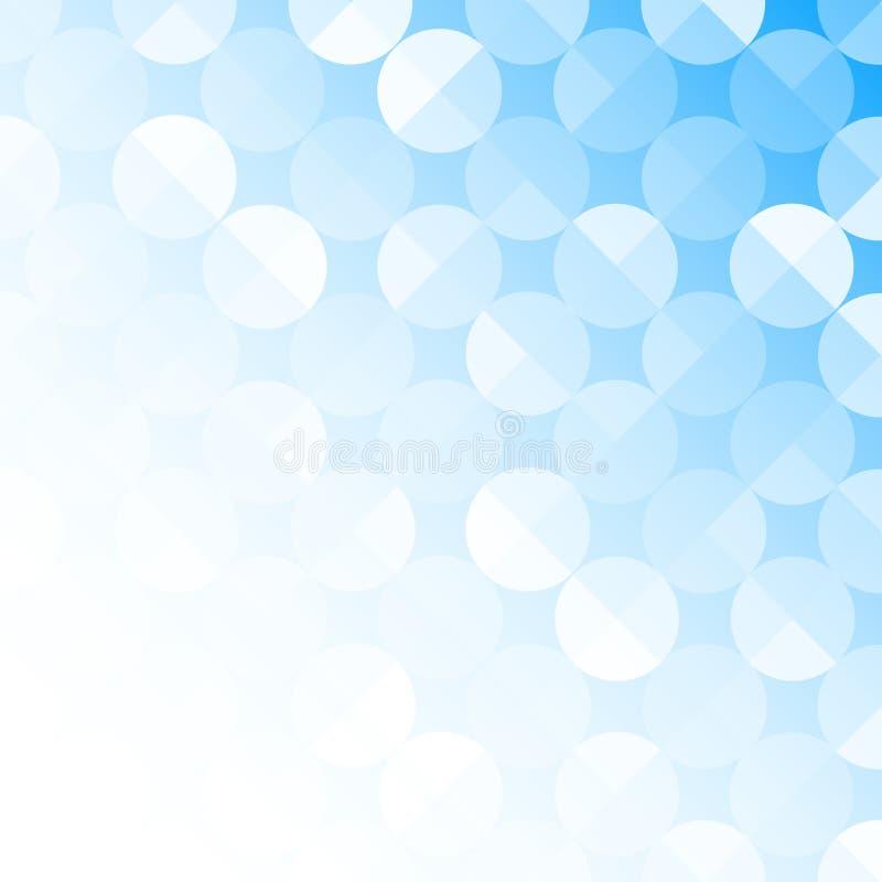 Abstrakta s?ml?sa skinande cirklar i ljust - bl? bakgrund royaltyfri illustrationer
