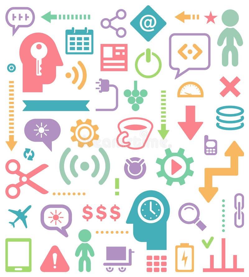 Abstrakta samkväm- och massmediasymboler för din Infographic eller räkningsdesign stock illustrationer
