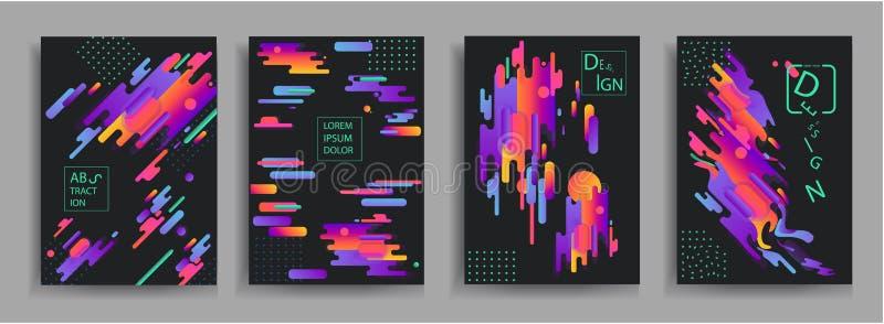 Abstrakta sammansättningar från de rundade futuristiska och moderna färgerna för musikband, Vektormallar för affischer, baner, re royaltyfri illustrationer