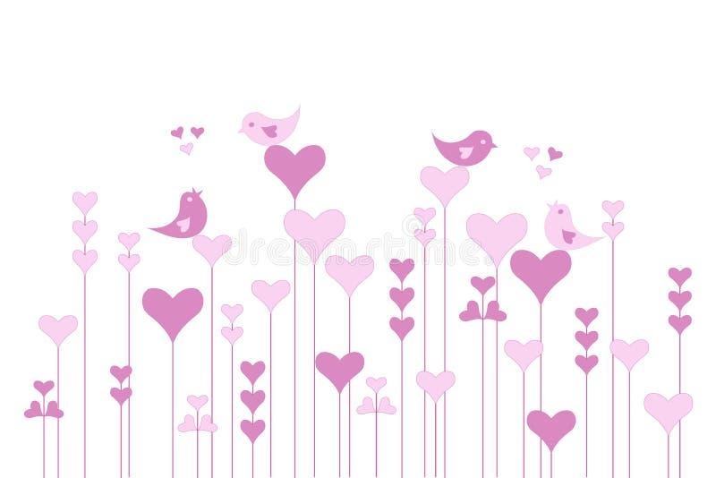 Abstrakta serca różowy ogród z lovebirds na białym, wektor ilustracja wektor