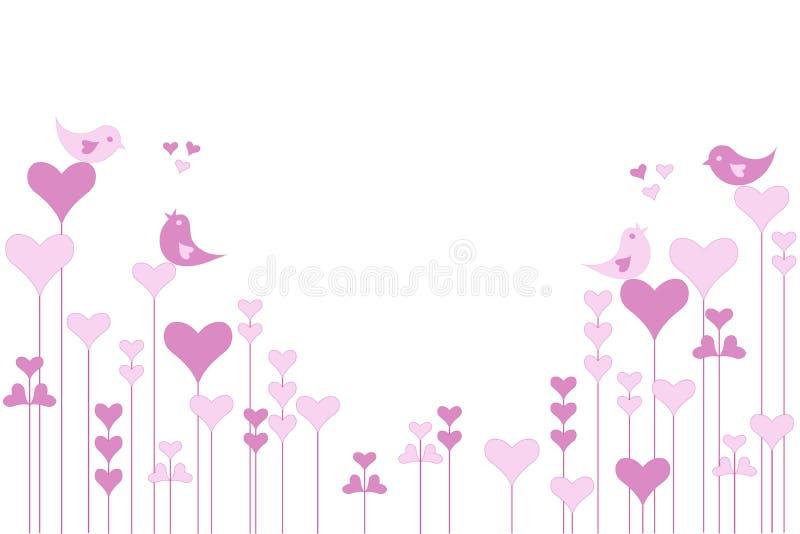 Abstrakta serca różowy ogród z lovebirds na bielu ilustracji