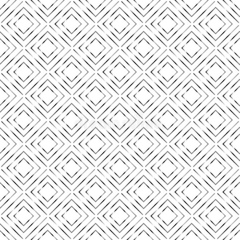 Abstrakta silvriga geometriska sömlösa fyrkanter mönstrar i vit bakgrund royaltyfri illustrationer