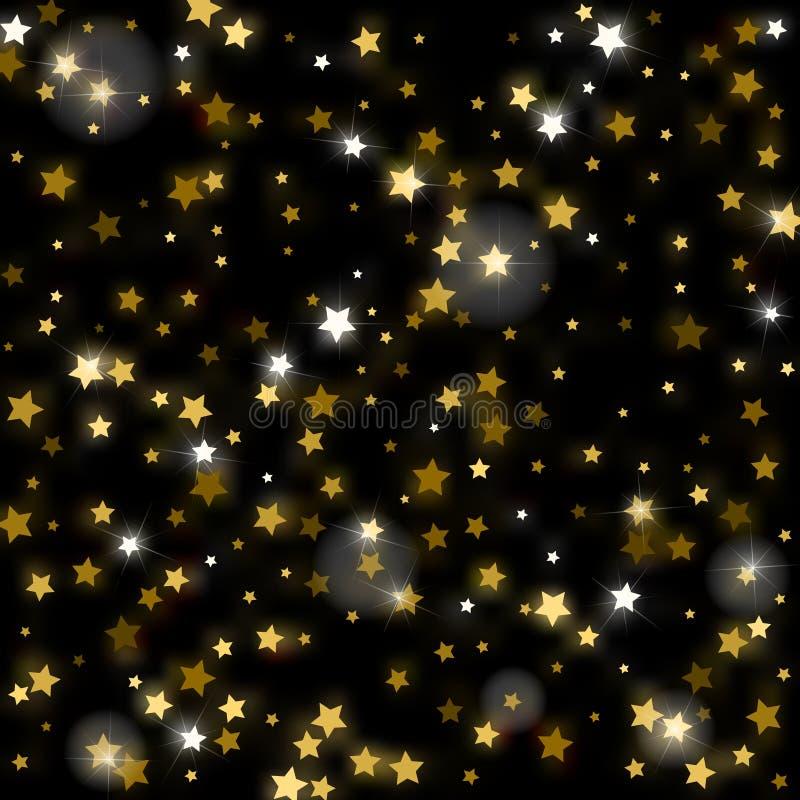 Abstrakta skinande fallande stjärnor för vektor på svart omgivande backgroun royaltyfri illustrationer