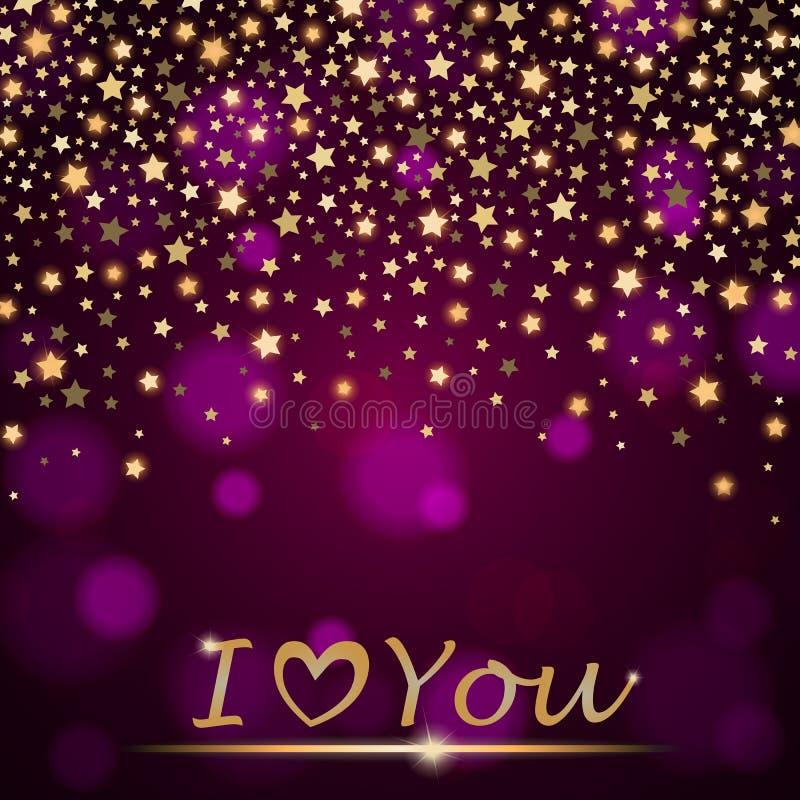 Abstrakta skinande fallande stjärnor för vektorn på violett omgivande suddig bakgrund älskar jag dig royaltyfri illustrationer