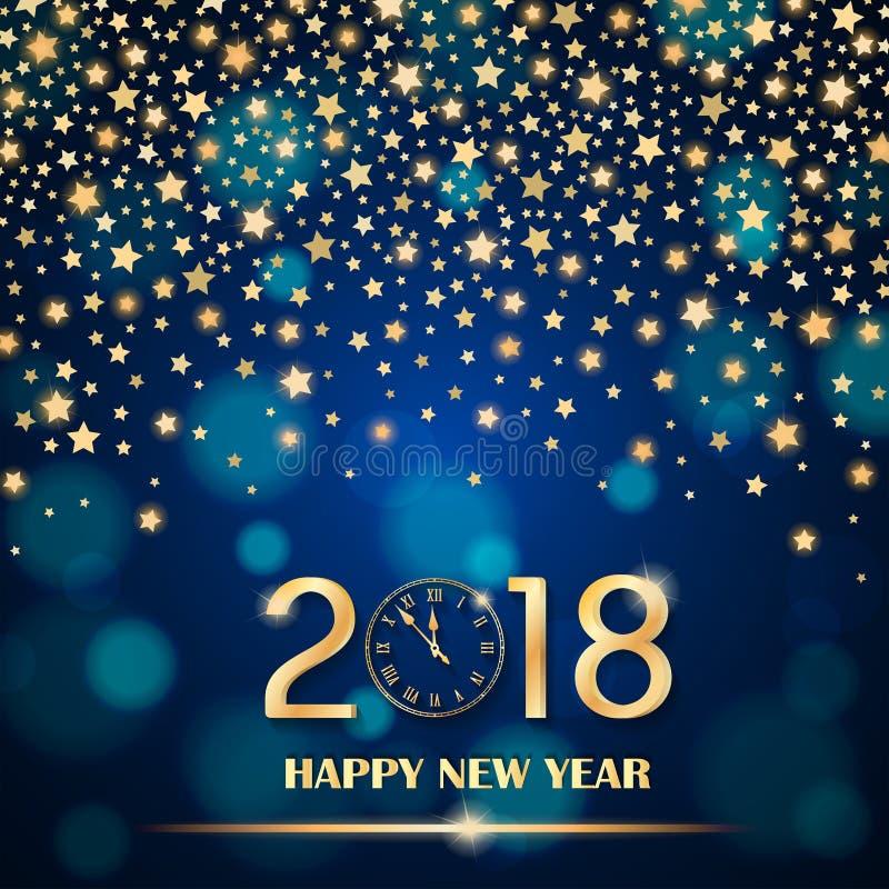 Abstrakta skinande fallande stjärnor på blå omgivande suddig bakgrund Begrepp 2018 för nytt år royaltyfri illustrationer