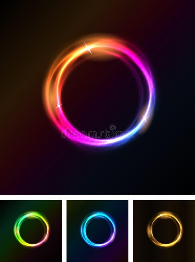 Abstrakta skinande ljuscirklar vektor illustrationer