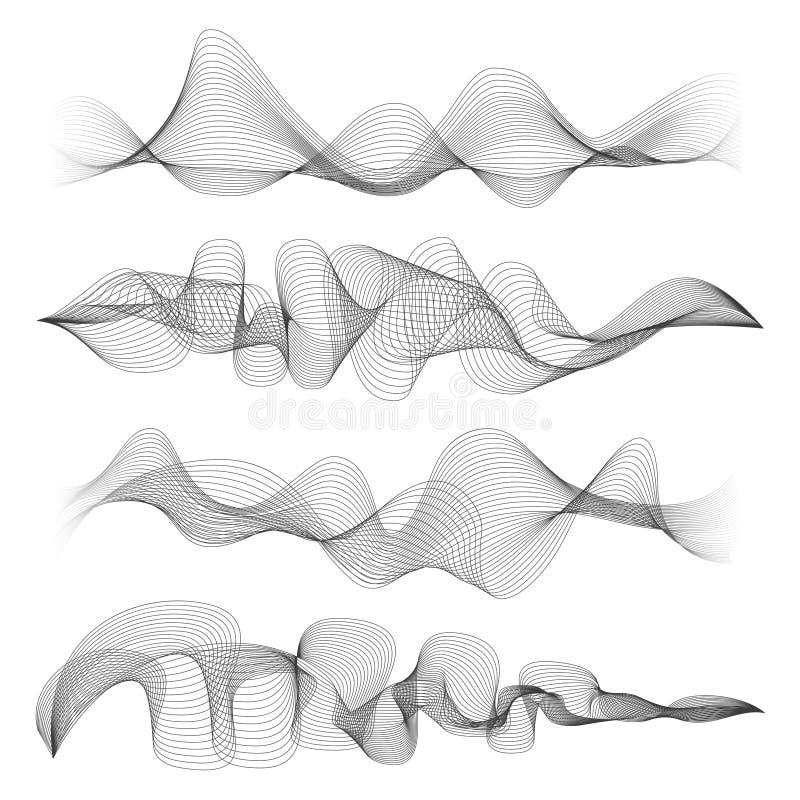 Abstrakta solida vågor som isoleras på vit bakgrund Soundwave för den Digital musiksignalen formar vektorillustrationen stock illustrationer