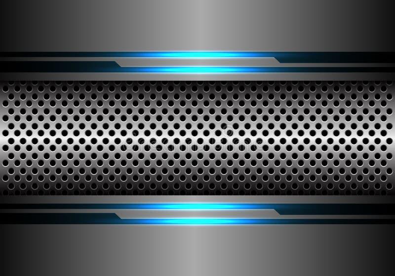 Abstrakta srebra okręgu siatka w popielatego metal lekkiej linii błękitnego energetycznego projekta technologii tła nowożytnym fu royalty ilustracja