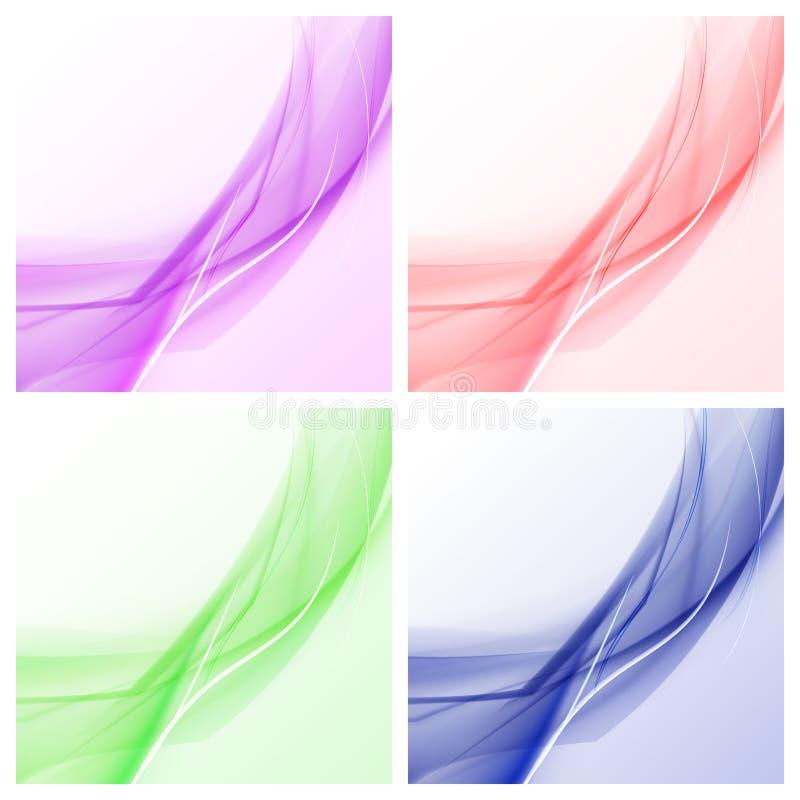 Abstrakta stilfulla beståndsdelar för färgvågdesignen - ställ in av 4 färgvågbakgrunder För reklamblad broschyr- och websitesdesi stock illustrationer