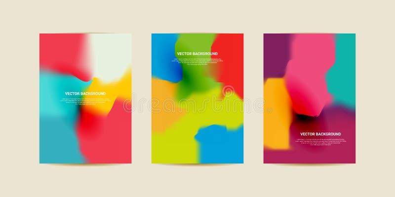 Abstrakta suddiga lutningingreppsbakgrunder Färgrik slät banermall vektor illustrationer