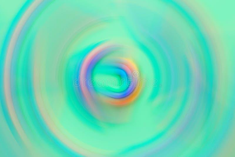 Abstrakta suddiga mångfärgade virvla för bakgrundsspektrum för koncentriska cirklar livliga pastellfärgade färger på turkosbakgru arkivfoton