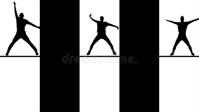 Abstrakta svarta konturer som dansar, hoppar och inflyttningfönster, monokrom Svarta diagram av folk in bakom stock illustrationer