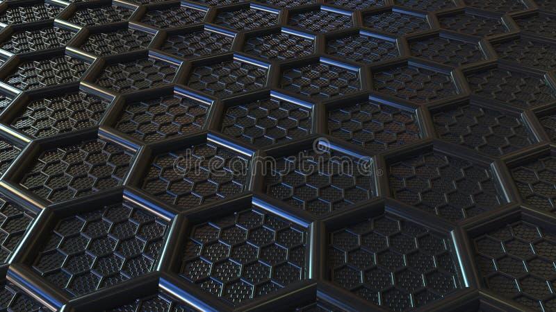 Abstrakta svarta plast- sexhörningar Modern teknologi gällde tolkningen 3D arkivfoton