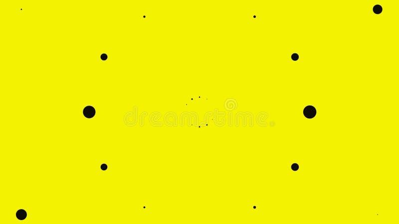 Abstrakta svarta punkter på gul bakgrund Animering Svarta punkter av olika storlek verkar explodera och skilja sig åt vektor illustrationer
