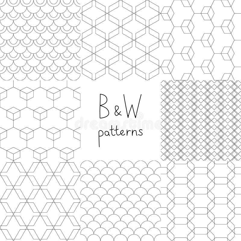 Abstrakta svartvita enkla geometriska sömlösa modeller ställde in, vektorn royaltyfri illustrationer