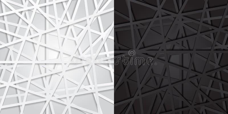 Abstrakta svartvita linjer futuristisk överlappningsbakgrund Ve royaltyfri illustrationer