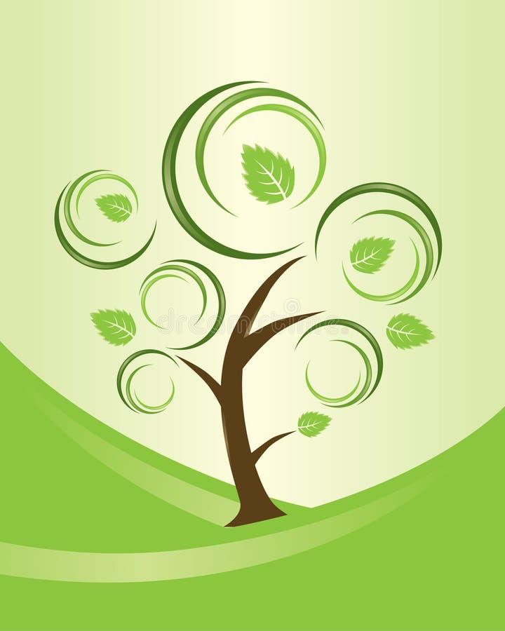 abstrakta swirly drzewo ilustracji