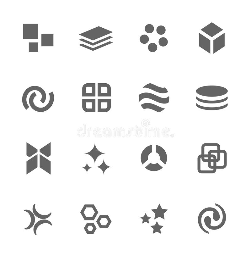 Abstrakta symboler. Uppsättning av 16 beståndsdelar. vektor illustrationer